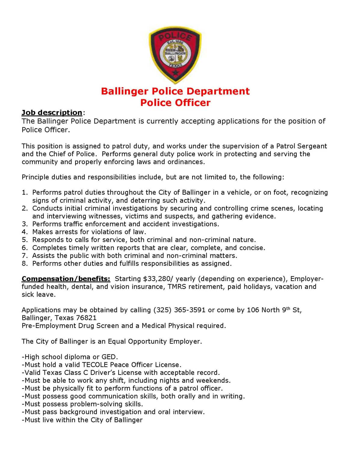 Police Officer Job Opening